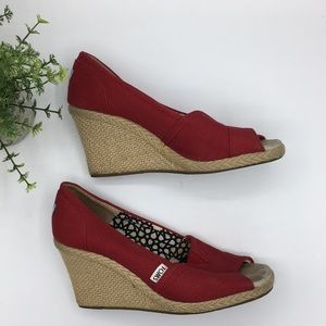 TOMS red canvas espadrille wedges